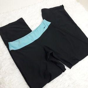Nike M 8-10 Black Leggings Active Pants Blue Band
